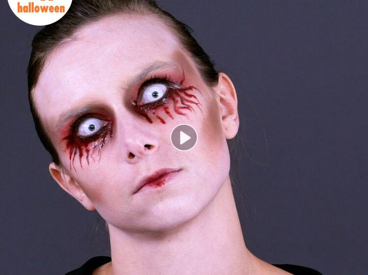 Tuto vidéo  réalisez ce maquillage facile et ultra flippant pour Halloween   Femme Actuelle Le MAG