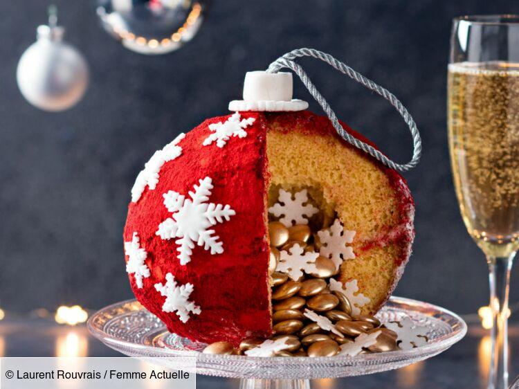 Gâteau en forme de boule de Noël façon pinata : découvrez les