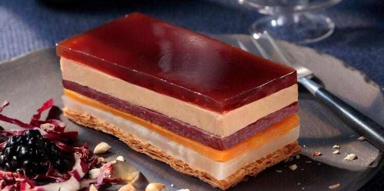 Opéra de foie gras aux légumes et magret fumé