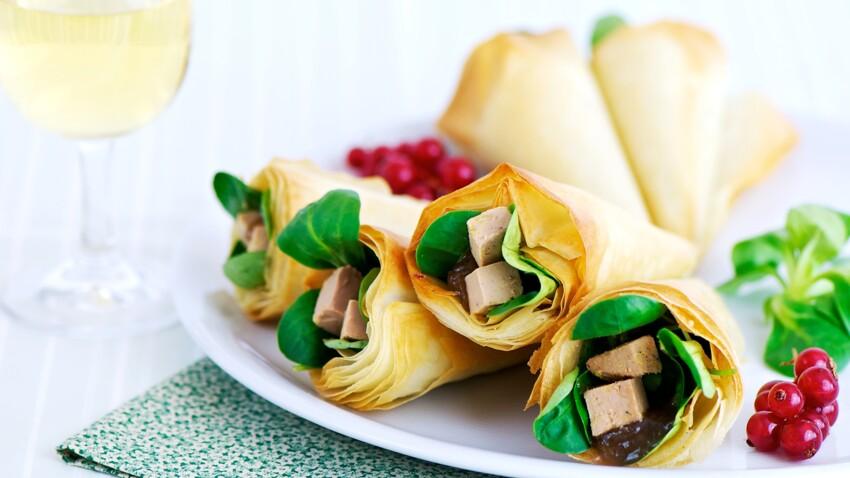 Cornets croustillants au foie gras et sa compote de rhubarbe