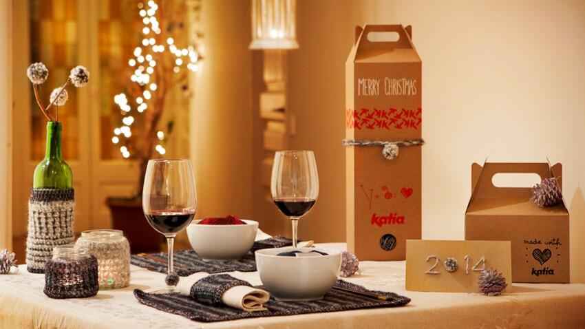DIY récup' : une déco de table de Noël à faire soi-même avec des chutes de laine