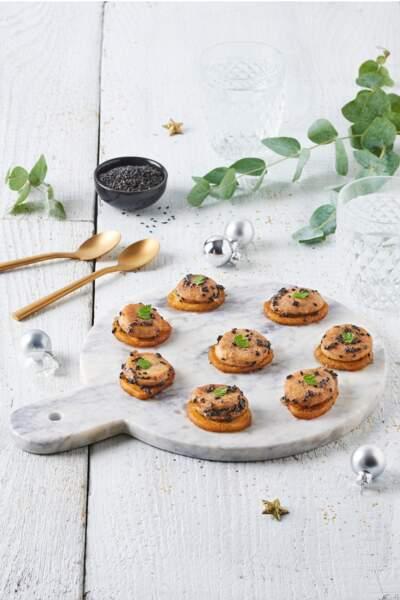 Bouchées de boudin blanc caramélisé à la crème de marron de l'Ardèche