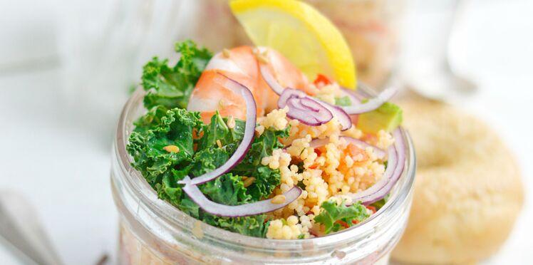 Taboulé aux crevettes et chou kale