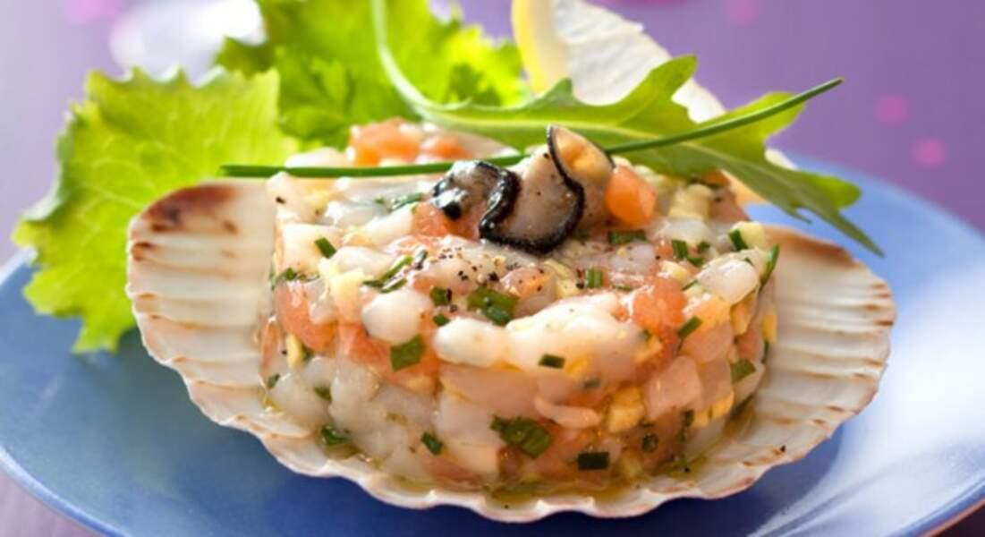 Recette de Noël : tartare d'huîtres et de saint-jacques au gingembre par Christian Constant