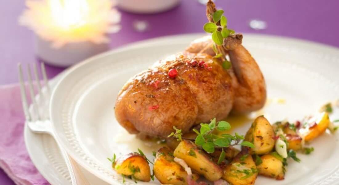 Recette de Noël : cailles farcies au fois gras et pommes de terre rattes par Christian Constant