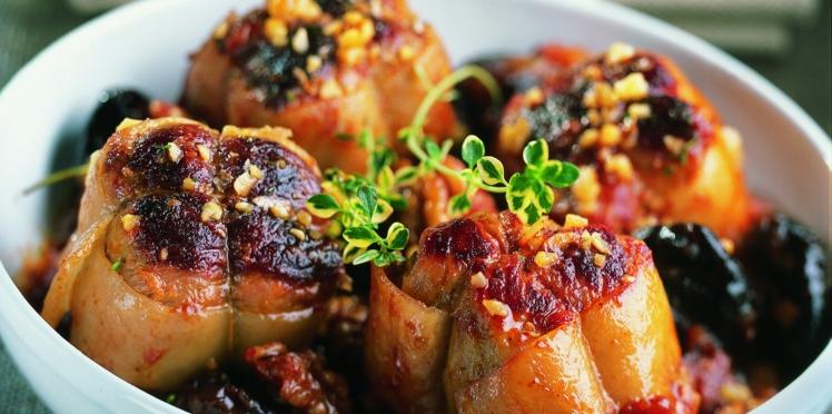 Paupiettes de veau aux noix et pruneaux