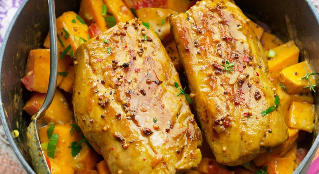 Mijotée de filet mignon au potimarron et moutarde à l'ancienne