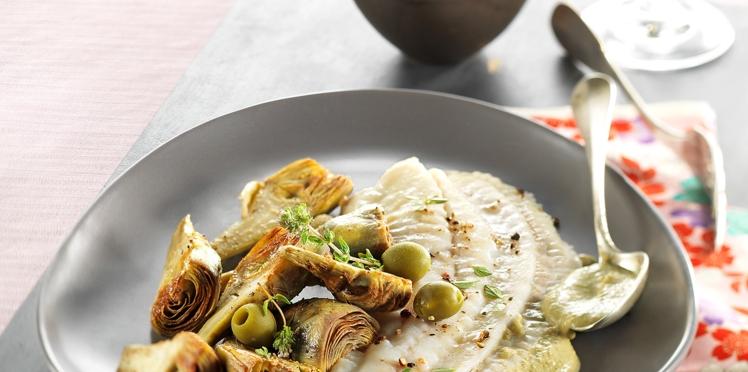 Filet de Barbue, artichaut poivrade et sauce aux olives vertes