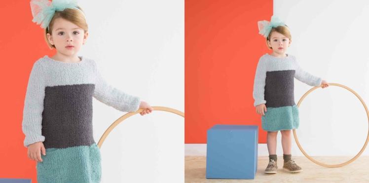 Tricot gratuit : la robe fillette au point jersey