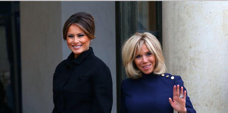 Photos - Brigitte Macron folle de joie de retrouver Melania Trump à l'Elysée