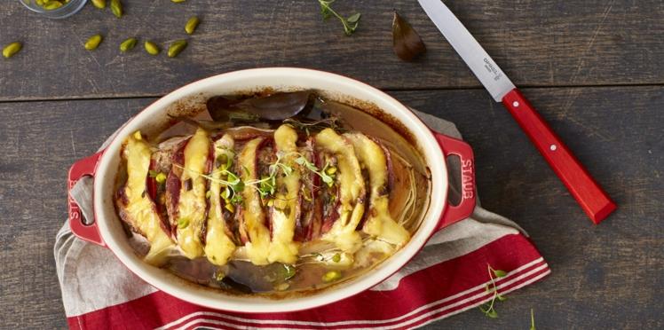 Rôti de veau Orloffà l'Emmentaler AOP suisse, coppa et pistaches