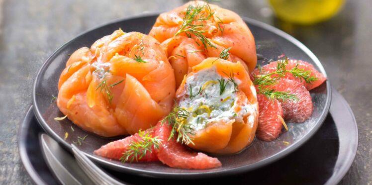 Ballotines de saumon fumé au chèvre frais