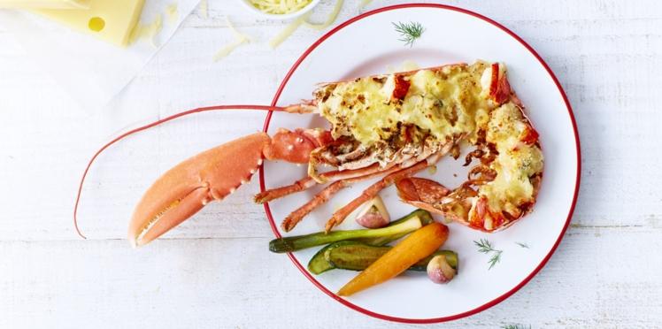 Gratin de homard,à l'Emmental AOP suisse et aux petits légumes de saison