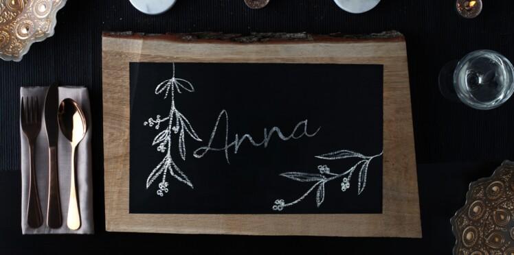 Déco de table de Noël, fabriquer un marque-place original