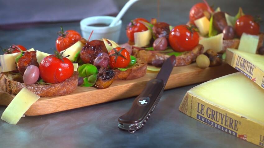 Bruschetta au chorizo, champignons, tomates confites et Gruyère AOP suisse