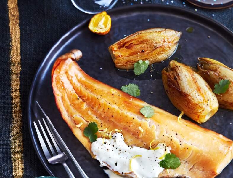 Haddock, endives braisées à l'orange, sauce yuzu