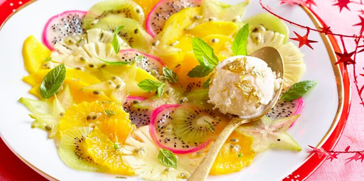 Carpaccio de fruits, glace au fromage frais