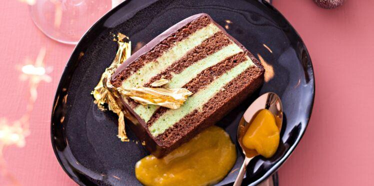Bûche chocolat, thé vert et mangue