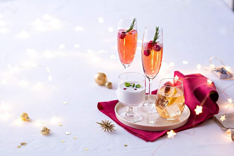 Royal champagne aux cranberries, mojito à la noix de coco et Ice tea de Noël