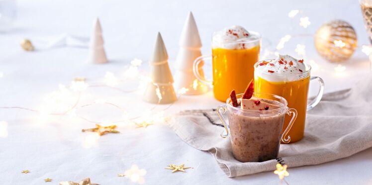 Velouté de cèpes au foie gras et cappuccino au potiron et jambon cru