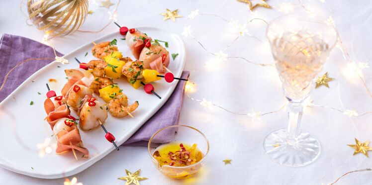 Brochettes de crevettes et de saint-jacques
