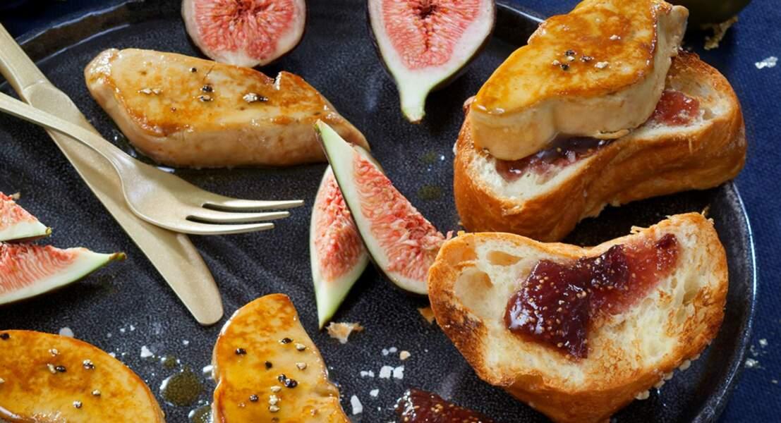Foie Gras poêlé sur brioche dorée et chutney de figues