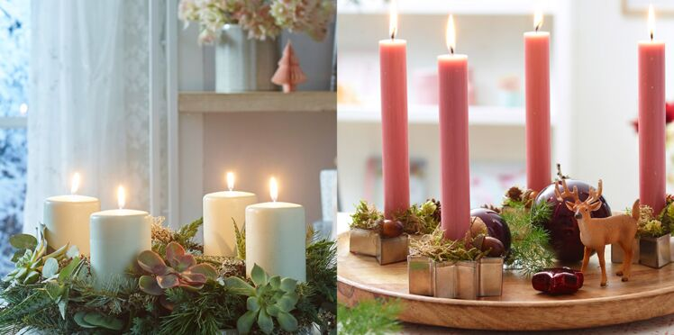6 idées de centre de table à faire avec des bougies pour Noël