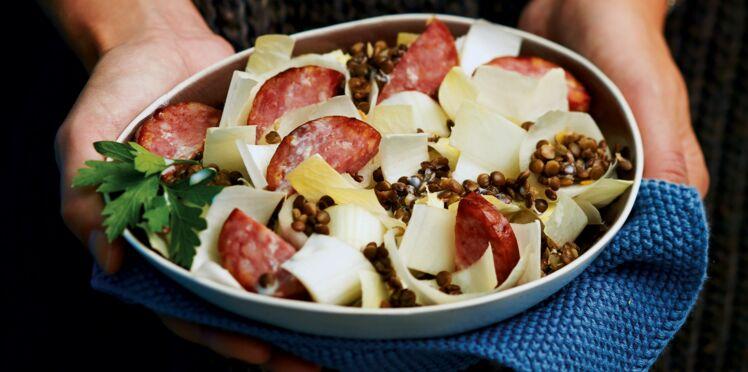 Salade de Perles tiède à la saucisse de Morteau