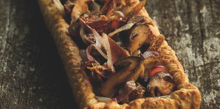 Tarte fine aux cèpes, figues et jambon serrano