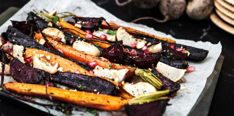 Légumes racines rôtis, grenade et huile Olive & Truffe