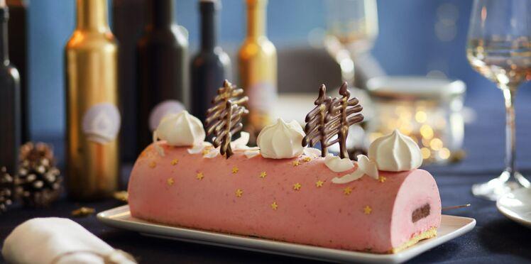 Bûche de Noël framboise et ganache chocolat