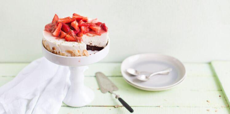 Cheesecake fraise rhubarbe à la farine de lin