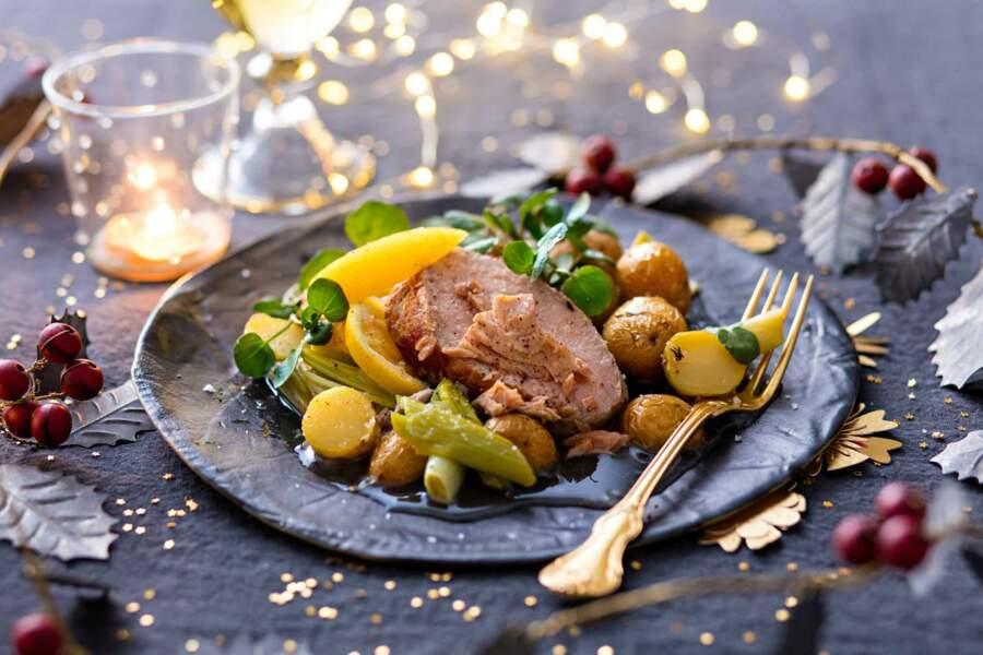 Quasi de veau rôti, ventrèche, grenailles et poireaux confits, citron doux de Juan Arbelaez
