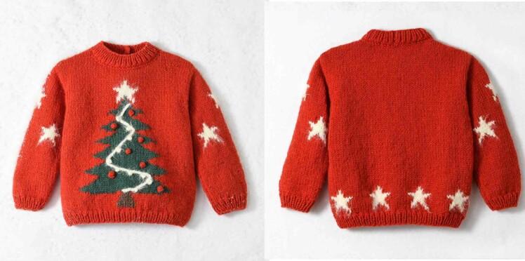 Tricot gratuit : le pull de Noël sapin