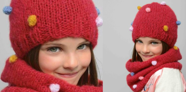 Tricot gratuit   bonnet et snood coordonnés   Femme Actuelle Le MAG 10a97e78827