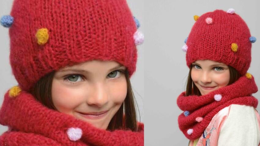 Tricot gratuit : bonnet et snood coordonnés