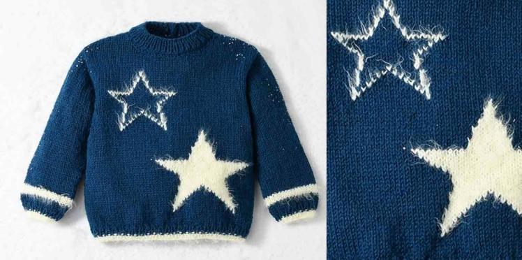 Tricot gratuit : le pull de noël étoiles