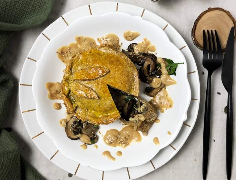 Tourte aux champignons, sauce cacahuète