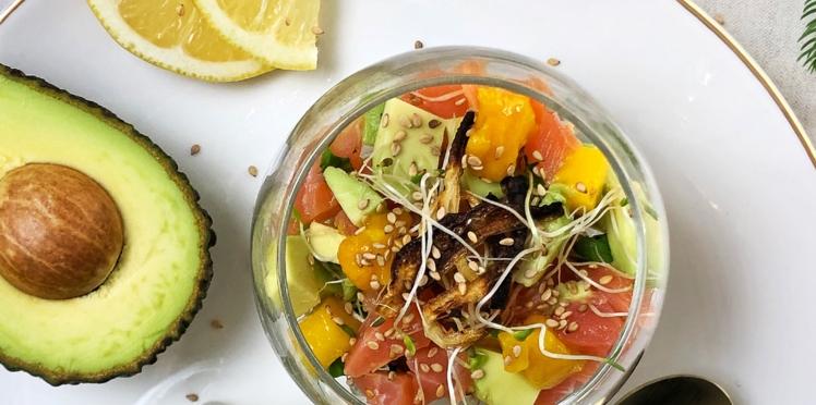Verrines au tartare de saumon avocat et mangue