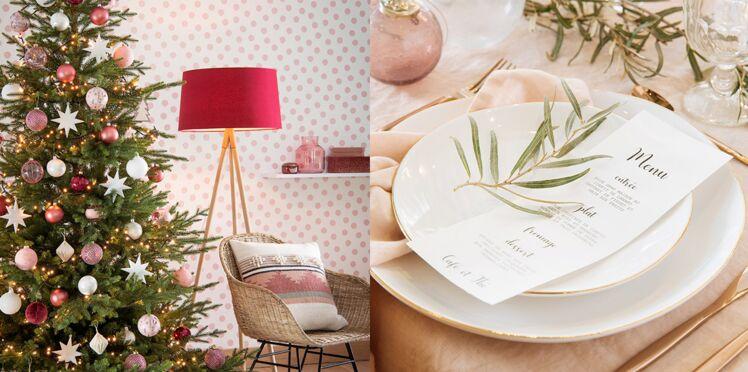 Tendance Noël 2018 : une déco de sapin et de table en rose et or