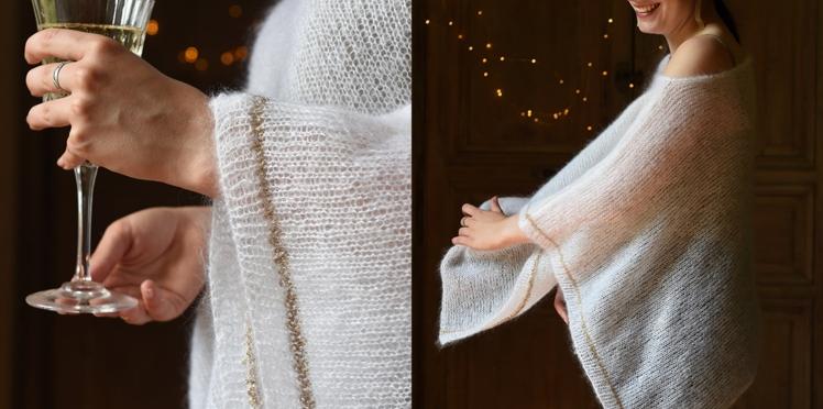 Modèle de tricot facile : un poncho en jersey endroit pour les fêtes