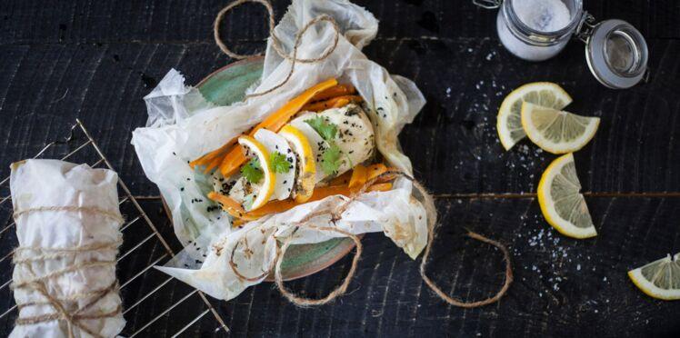 Papillote de poulet fermier aux légumes et citron confit