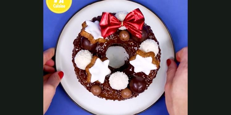 Une couronne de Noël en chocolat : la recette facile et sans cuisson