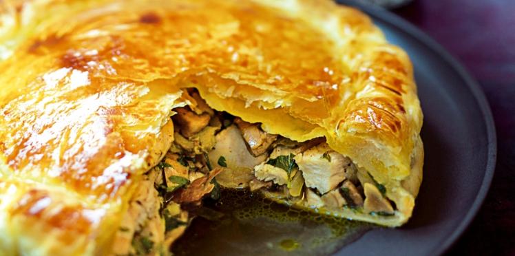 Tourte de volaille forestière au foie gras