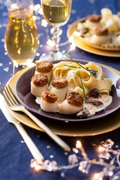 Lion : une poêlée de Saint Jacques à la chapelure de jambon cru, papardelles aux morilles pour Noël