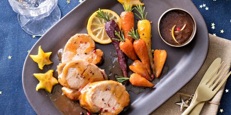 Filet mignon sauce asiatique & carottes confites au miel