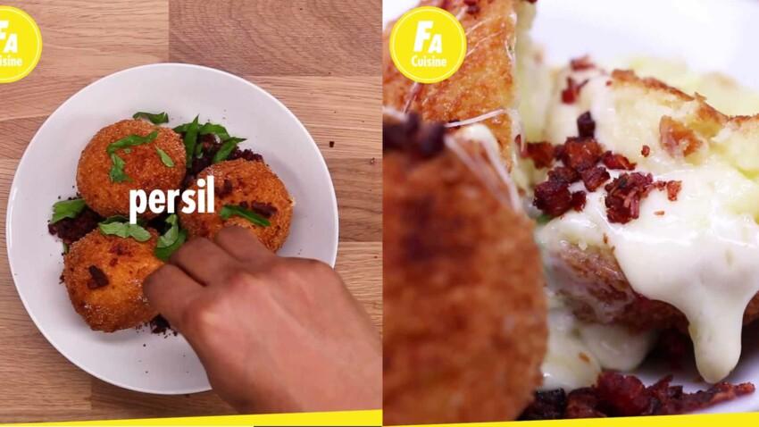 Raclette revisitée : les cromesquis de fromage à raclette et chapelure de lardons