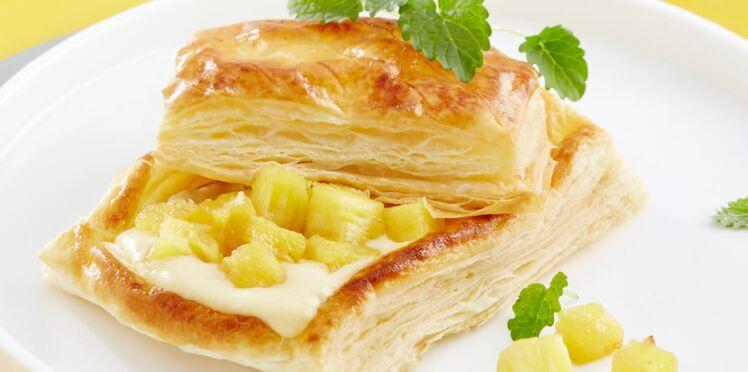 Petits paniers ananas, crème coco