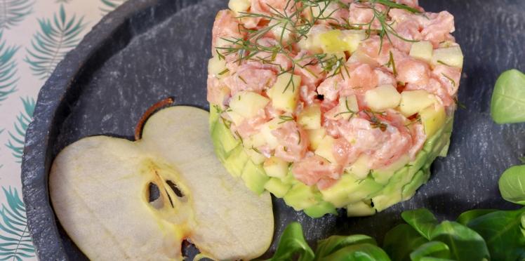Tartare de saumon avocat et pommes du Limousin