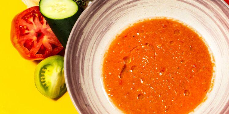Gaspacho de tomates, concombre, poivrons et vinaigre de Xérès vieux